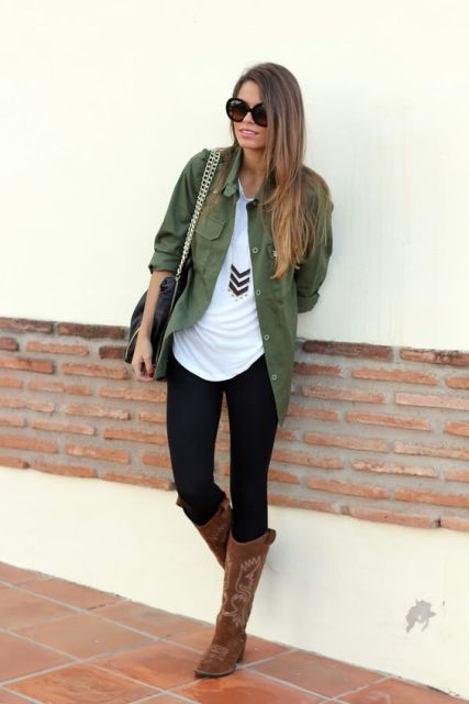 Picture Of Green Army Jacket Outfits For Stylish Girls 15
