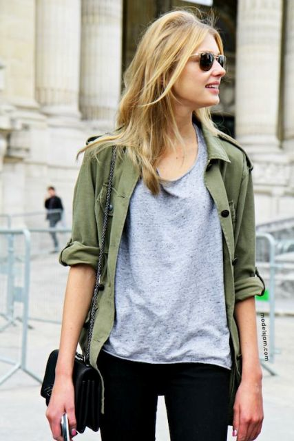 Picture Of Green Army Jacket Outfits For Stylish Girls 3