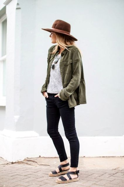 Picture Of Green Army Jacket Outfits For Stylish Girls 4