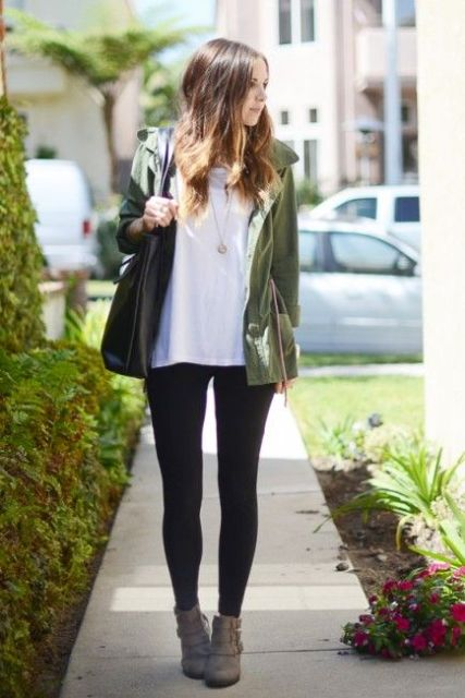 Picture Of Green Army Jacket Outfits For Stylish Girls 7
