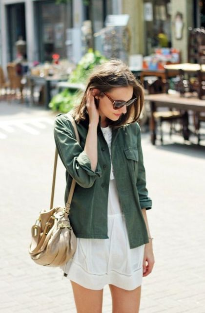 Picture Of Green Army Jacket Outfits For Stylish Girls 8