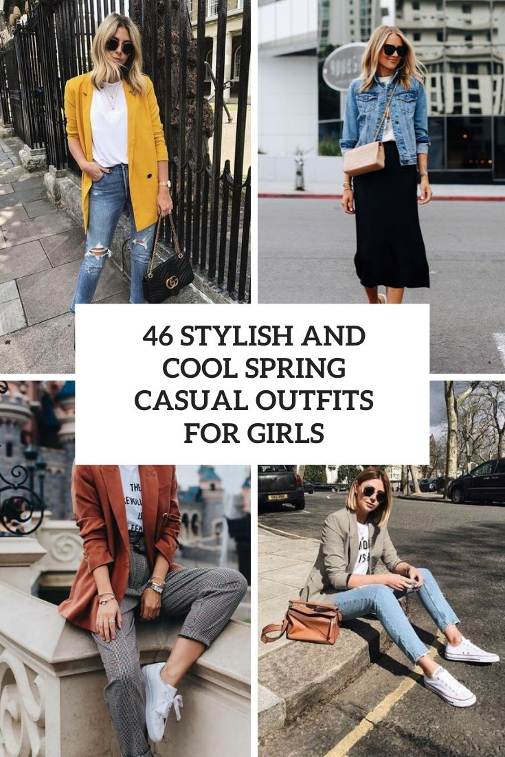 stylish and cute spring casual outfits for girls cover
