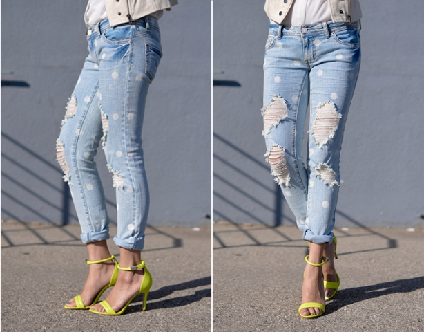 Picture Of DIY Marc Jacobs Inspired Distressed Polka Dot Denim 2