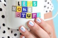 Funny DIY Pastel Exclamations Nail Art