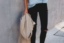 a blue chambray shirt, black ripped skinnies, white sneakers and a neutral trench for spring