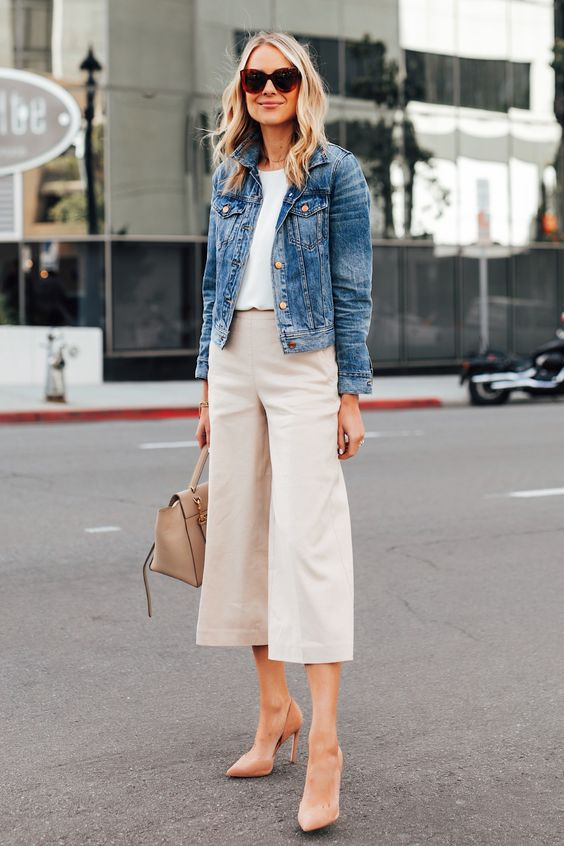 a white top, neutral culottes, peachy shoes, a neutral bag and a blue denim jacket for a casual work look