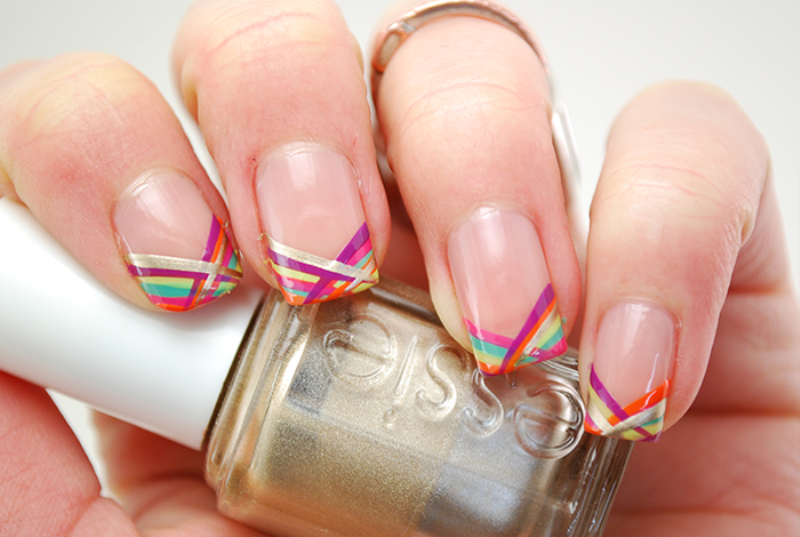 Picture Of colorful diy geometric stripes nail design to try  1