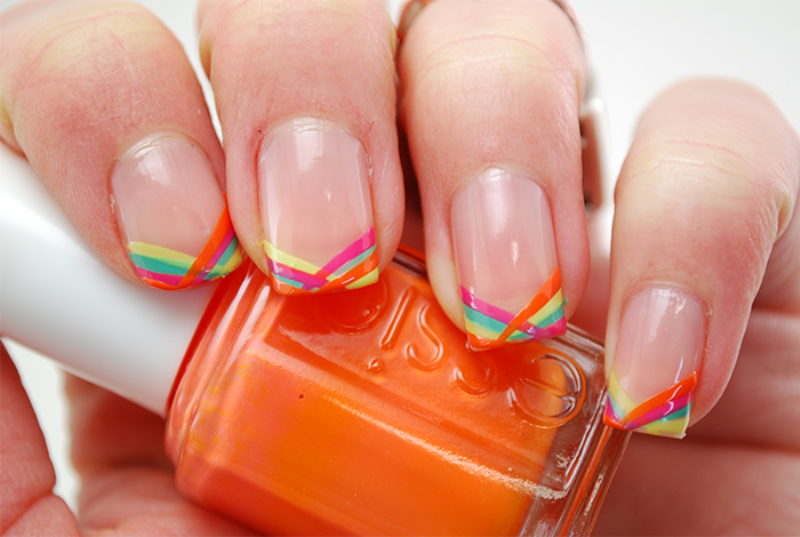 Picture Of colorful diy geometric stripes nail design to try  2