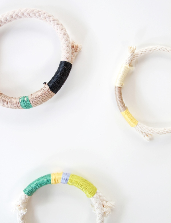 Colorful DIY Wrapped Rope Bracelet To Make