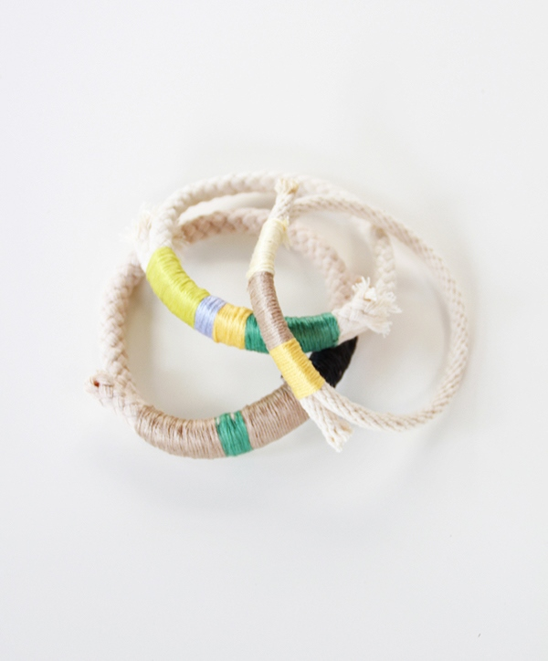 Picture Of colorful diy wrapped rope bracelet to make  3