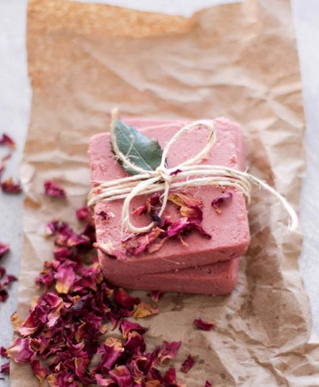 rosewater pink clay soap