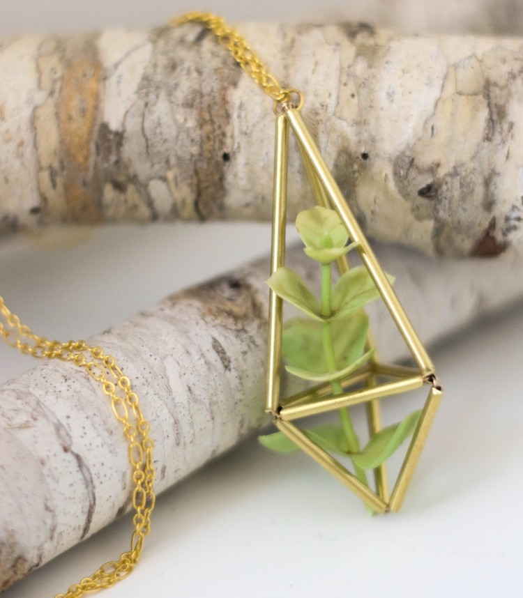DIY Brass Himmeli Succulent Necklace