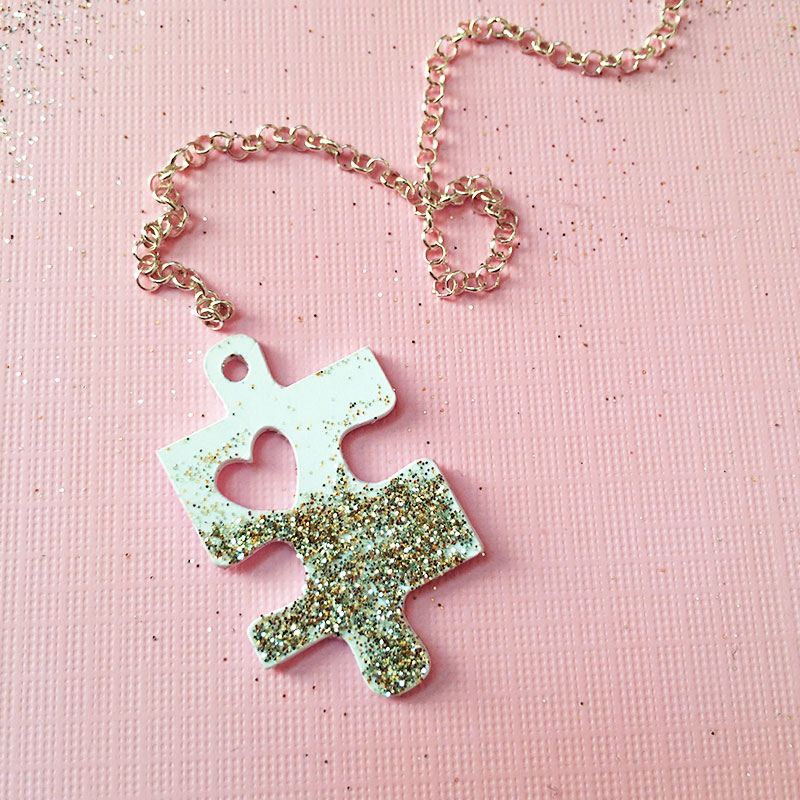Picture Of diy puzzle piece with a heart necklace  1