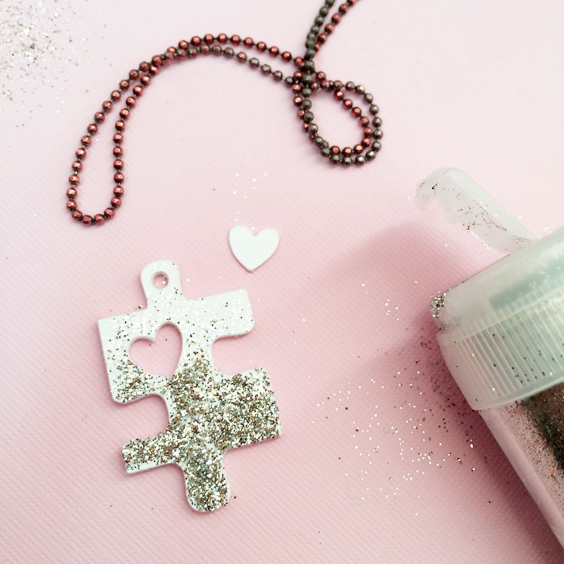 Picture Of diy puzzle piece with a heart necklace  3