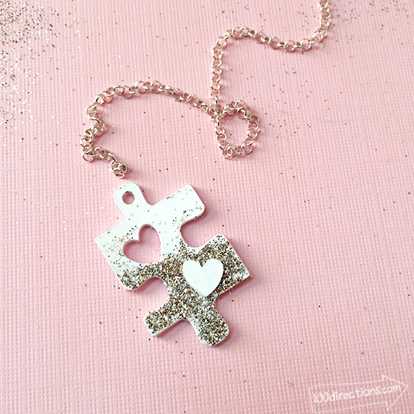 DIY Puzzle Piece With A Heart Necklace
