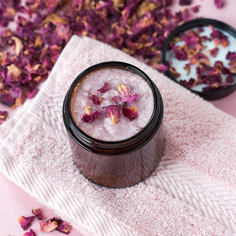 Picture Of diy rose petals sugar body scrub for valentines day  2