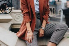 plaid pants, a printed tee, a terracotta blazer and white sneakers for a comfy spring or fall look