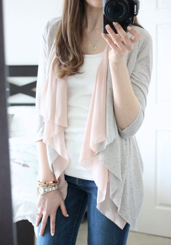 navy skinnies, a white top, a grey and blush cardigan for an everyday spring outfit