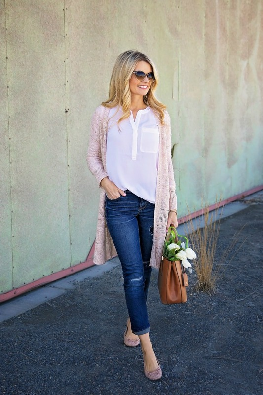 an oversized white shirt, navy skinnies, blush flats, a long blush cardigan, a brown bag