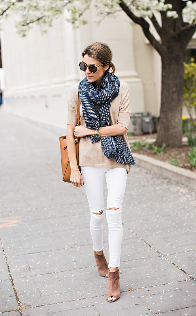 a casual spring outfit with white skinnies, a tan top, a polka dot scard, brown peep toe booties and a brown bag