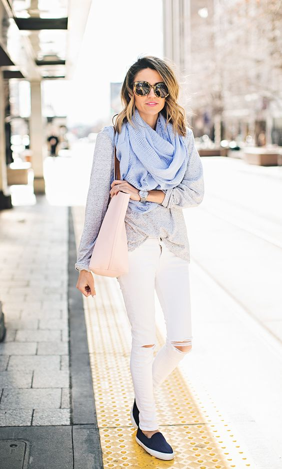 a fresh spring outfit with a grey oversized top, white skinnies, navy slipons, a blush tote