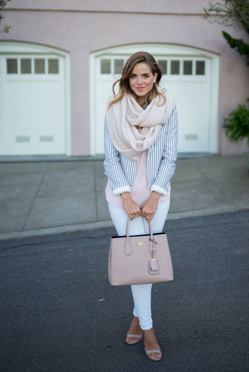 a pastel look with white skinnies, a pink top, a striped blazer, a scarf and nude heels