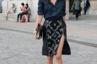 16 Feminine Side Slit Skirt Ideas 2