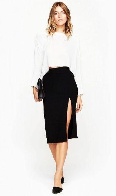 Picture Of Feminine Side Slit Skirt Ideas 5