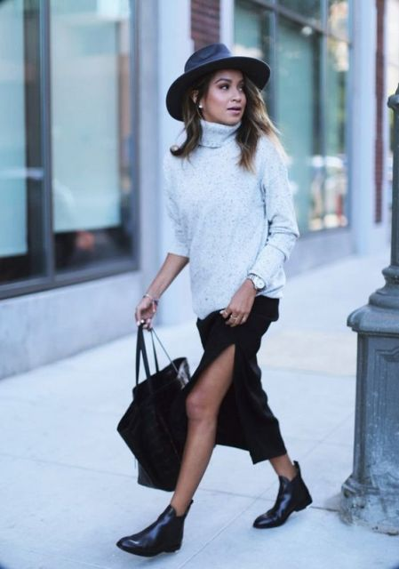 Picture Of Feminine Side Slit Skirt Ideas 6