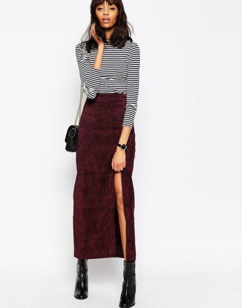 Picture Of Feminine Side Slit Skirt Ideas 9