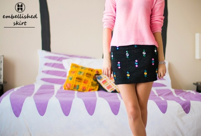 Eye Catching DIY Embellished Skirt To Make