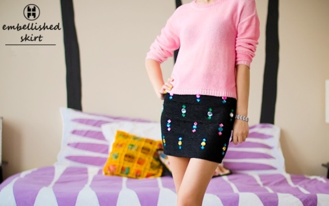 Eye-Catching DIY Embellished Skirt To Make