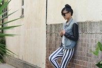 Playful DIY Black And White Striped Denim 2