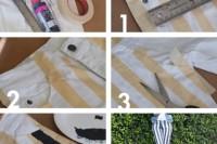 Playful DIY Black And White Striped Denim 3