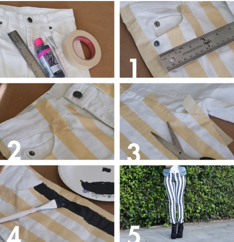 Picture Of Playful DIY Black And White Striped Denim 3