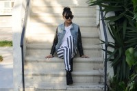 Playful DIY Black And White Striped Denim 4
