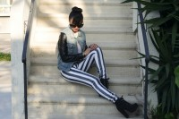 Playful DIY Black And White Striped Denim 5