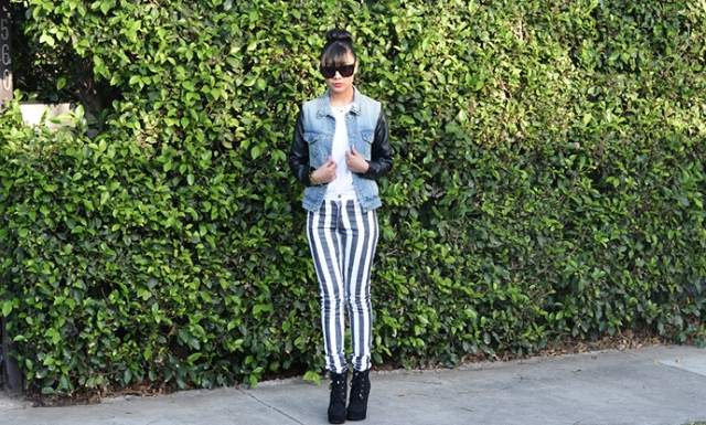 Playful DIY Black And White Striped Denim
