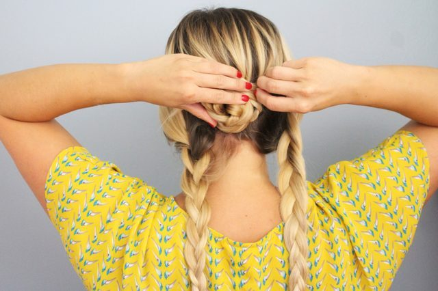 Picture Of Quick DIY Braided Updo For Ladies 5