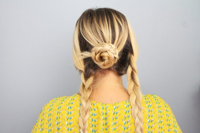 Picture Of Quick DIY Braided Updo For Ladies 6
