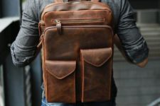 a chic brown leather backpack with various pockets is stylish and very comfy in using
