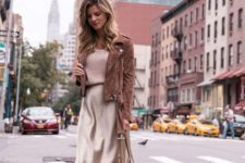 a pastel look with a neutral slip skirt, a blush top, tan shoes, a dusty pink bag and a brown suede jacket