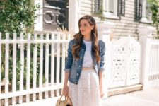 a white top, a white lace midi skirt, a denim jacket, blush flats and a neutral bag