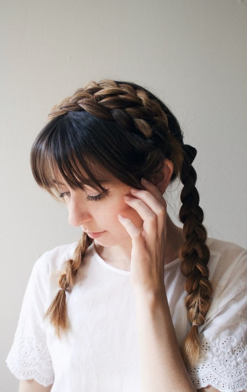 Picture Of cute diy milkmaid braids for thick hair  3