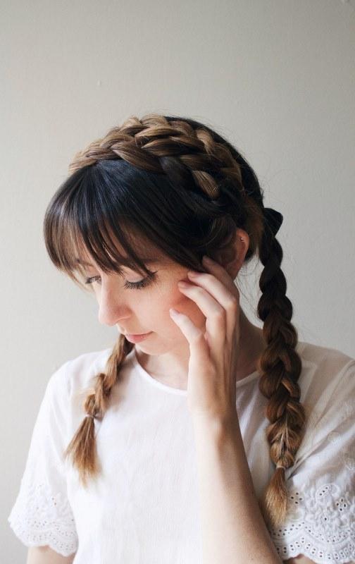 Cute DIY Milkmaid Braids For Thick Hair