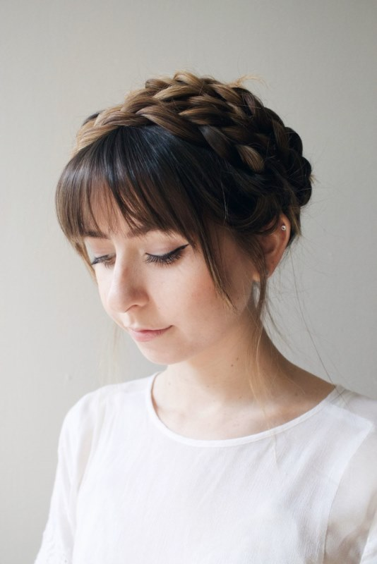 Picture Of cute diy milkmaid braids for thick hair  4