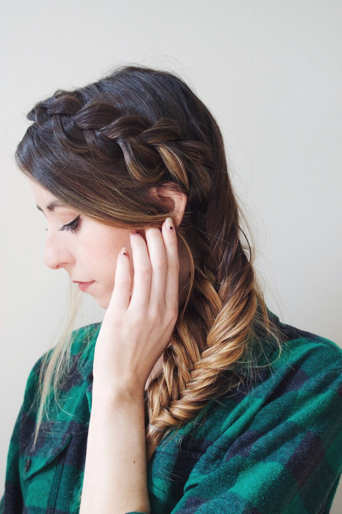 Easy DIY Dutch Braid Into A Fishtail Hairstyle