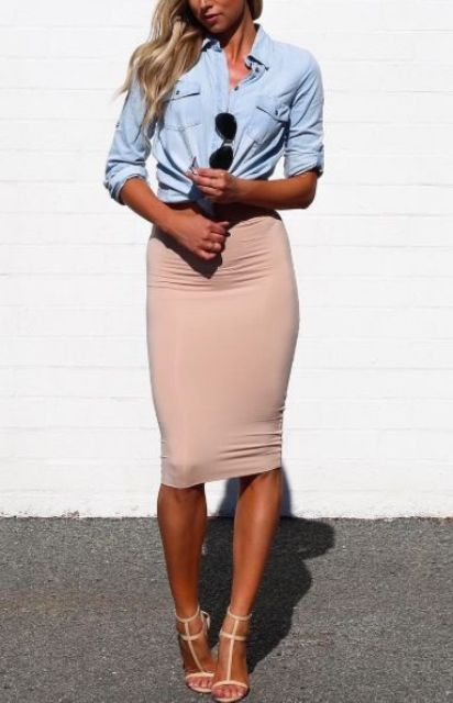 a sexy look with a blue chambray shirt, a blush pencil midi skirt and nude strappy shoes