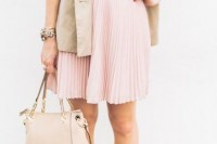 a spring work outfit with a white shirt, a blush pleated knee skirt, a nude bag, a neutral short trench and leopard print shoes