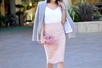 a spring work outfit with a white top, a blush lace pencil skirt, a lilac blazer, silver shoes and a pink rose clutch